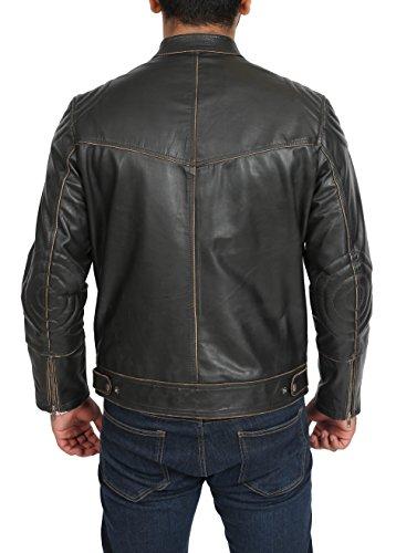 cuero estilo Cierre cremallera Hebilla negro Vintage de abrigo de hombre Mate con genuino Tinte Efecto para chaqueta xgrg8SqX