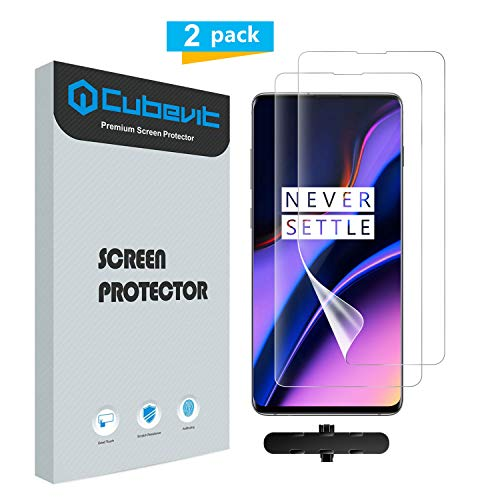 Cubevit OnePlus 7 Screen Protector, [Lifetime Replacement Warranty][2 Pack] Full Coverage [Case Friendly], Bubble Free/HD Clear/Anti-Fingerprint Film Screen Protector for OnePlus 7 2019