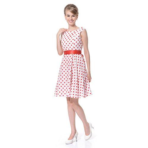Cocktail Femme Robe Sans White Dots Manche FiftiesChic Red 5WAqBW