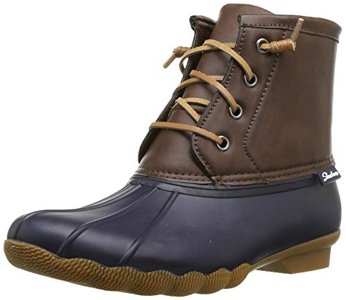 Skechers Women's Pond-Lace Up Mid Duck Boot with Waterproof Outsole Rain, Navy/Brown, 9 M US
