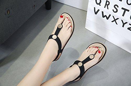 bouton Noir Sangle Ommda String Femmes Des Bohème Plates Sandales T Métal En w1xqOZzAx