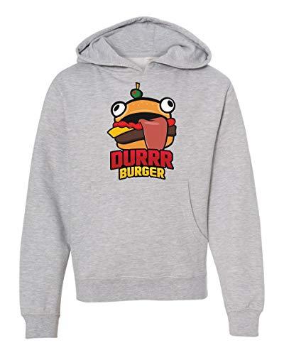 LivingTees Durrr Burger Fortnight Sweatshirt for Boys Kids Youth Gray