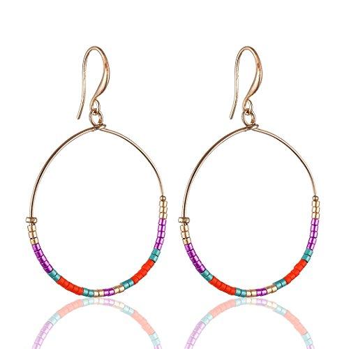 Beautiful Fashion Japanese Glass Beads Hoop Earrings Drop Earrings for Women Jewelry (B)
