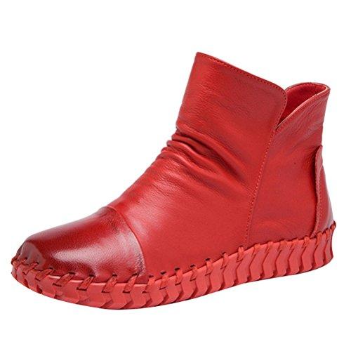 Mordenmiss Mujeres New Fall Winter Martin Botas Planas De Punta Plana Style 2 Fleece Red
