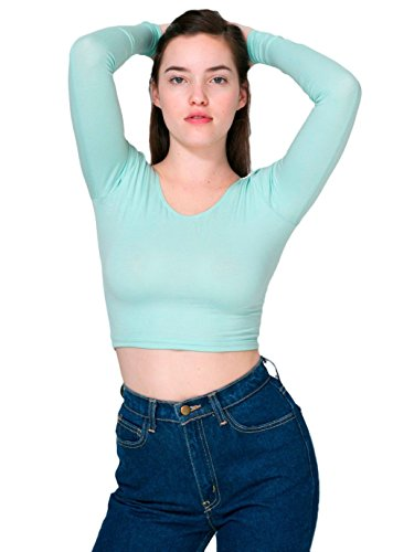 American Apparel Women Cotton Spandex Jersey Long Sleeve Crop Top