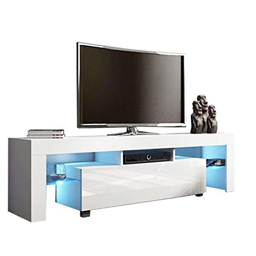 White TV Stand with Lights, Modern LED TV Stand with Storage and Drawers, High Gloss TV Stand, Minimalist TV Console with Cabinet, Entertainment Center for 43/55/50/65 Inch TV, Living Room Furniture