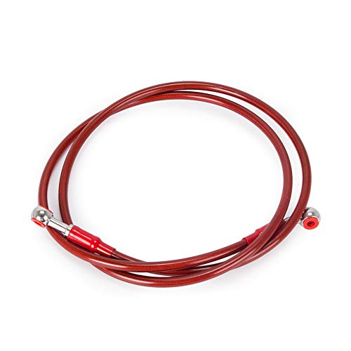 RONSHIN 90 100 110 120cm Motorcycle Dirt Bike Braided Steel Hydraulic Reinforce Brake Line Clutch Oil Hose Tube(Red 120cm)
