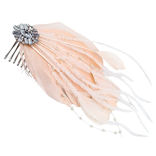 Save The Date Feather Hair Clip, Pink, Girls, Wedding, Formal, Accessory, Fashion, Bridal (Roach Stone)