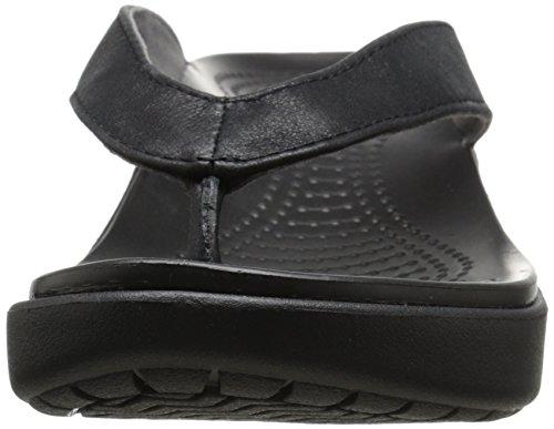 Crocs - Capri en cuir flip sandales femme -, EUR: 35, Black/Black