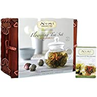 Numi Organic Tea Flowering Tea Gift Set, 6 Tea Blossoms with 16 Ounce Glass Teapot in Elegant Bamboo Case (Packaging May Vary)