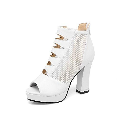 Taille Fils Plate Heels Sandales Bouche De High Hollow Avec Épais Poisson Étanche White forme Une Femmes Grande La Net Chaussures 86UPBxqB