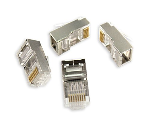 HTTX RJ45 8P8C Connectors Crimp Ends Aluminium Shield UTP Network Plug for CAT5 CAT5E CAT6 CAT7 Stranded Cable Solid Crystal Head High - Connector Crimp 8p8c