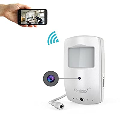 Wireless Hidden Camera Conbrov WF28 720P Motion Activated Nanny Cam with 30ft Night Vision Range, Mini Spy Smoke Detector Camera for Home and Office