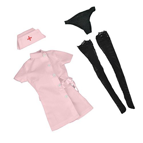 Baoblaze 1/6 Pink Nurse Dress Stockings Full Set for 12'' Action Figure Accessories (12' Full Action Figure)