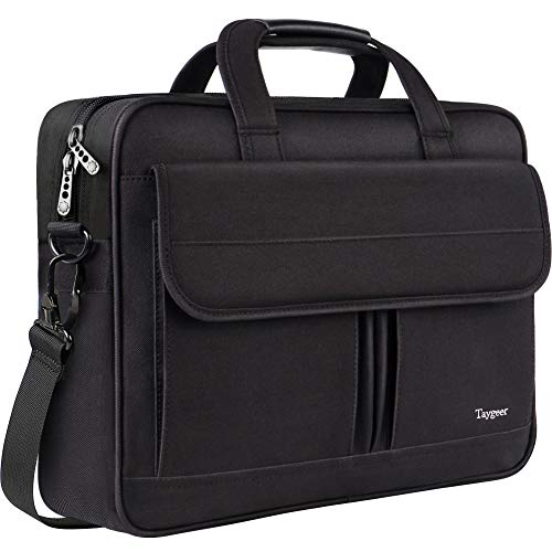 (Taygeer Laptop Bag 15.6 Inch, Business Briefcase for Men Women, 15inch Water Resistant Messenger Shoulder Bag with Strap, Durable Office Bag, Carry On Handle Case for Computer Notebook MacBook,Black )