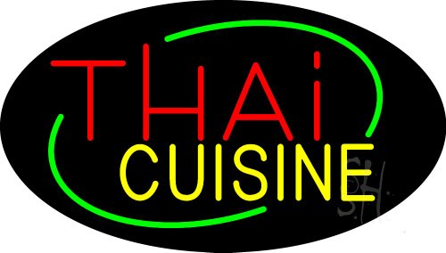 Thai Cuisine Animated Clear Backing Neon Sign 17'' Tall x 30'' Wide by The Sign Store