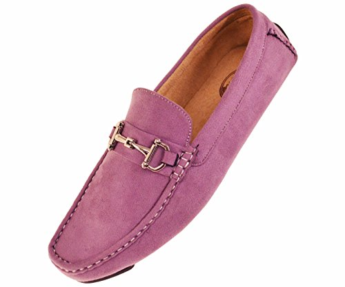 Amali Mens Plush Microfiber Loafer Driving Shoe with Buckle Style (Lavender Dress Shoes)