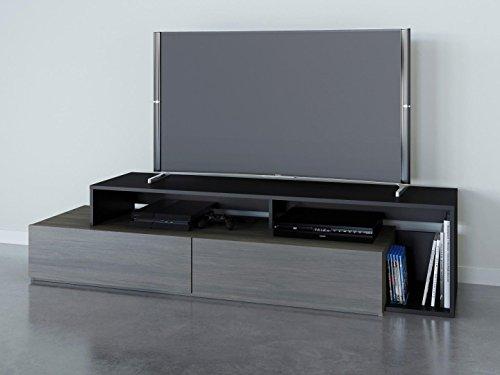 """Nexera 112045 Tv Stand, 72"""", Bark Gray/Black"""