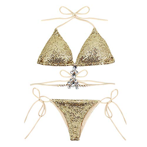 Ring Low Rise Bottom - Sherry Women Triangle Bikini Set 2 Pieces Shiny Sequin Sexy String Beachwear Cross High Neck Halter Swimsuit(Gold02,M)