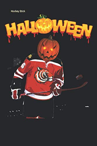 Hockey Stick: and Pucks pumpkin head player Lined Notebook / Diary / Journal To Write In 6