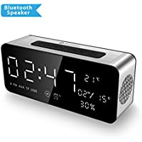 ICE-BINGO A10 Bluetooth Speaker with HD Sound and Bass,Smart Portable Bluetooth Speakers with Low Harmonic Distortion & Alarm Clock & FM Radio - Black
