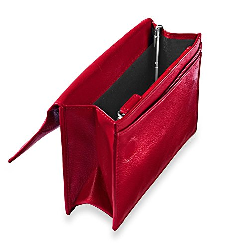 - Levenger RFID Travel Wallet W/Walletini Pen - Red