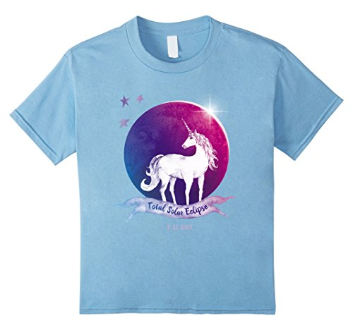 Kids Unicorn Total Solar Eclipse Kids Shirt Colorful Magical Moon 4 Baby Blue