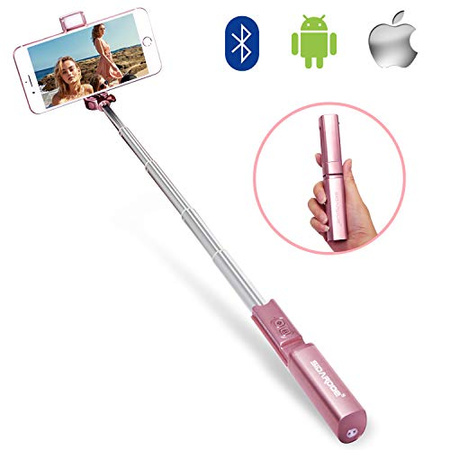Selfie Stick,SIDARDOE Professional Extendable Bluetooth Selfie Stick with Colorful Fill Light and Adjustable Head,Fits for iPhone XS MAX/X/8/8P/7/7P/6S Plus,Glaxy S8/S9,Google Pixel,LG V20 (Rose Gold)