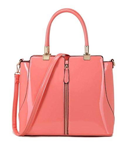 LeahWard® Frauen Große Taschen Damen Faux Leder Tragetasche Schulter Handtaschen Schule CW105 (Pfirsich Rosa) Pfirsich Rosa