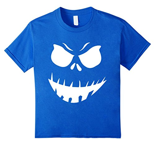 [Kids The Official Scary Face Halloween Costume Tee Shirt 4 Royal Blue] (Official Halloween Costumes)