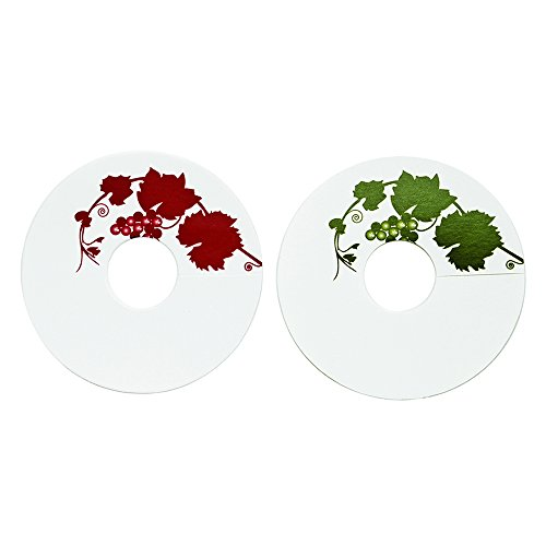 True Fabrications Red and Green Paper Grape Vine Wine Glass Tags, 24 Count