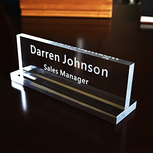 Acrylic Name Plate Office Desk Bar Custom Personalized Engraved (Glass Desk Nameplate)