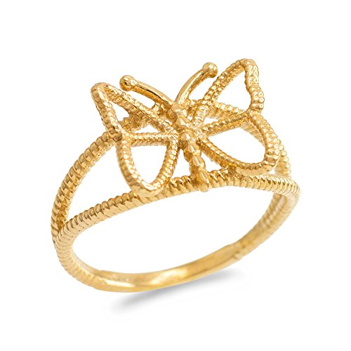 Dainty 10k Yellow Gold Rope Band Butterfly Ring (Size - 10k Ring Butterfly
