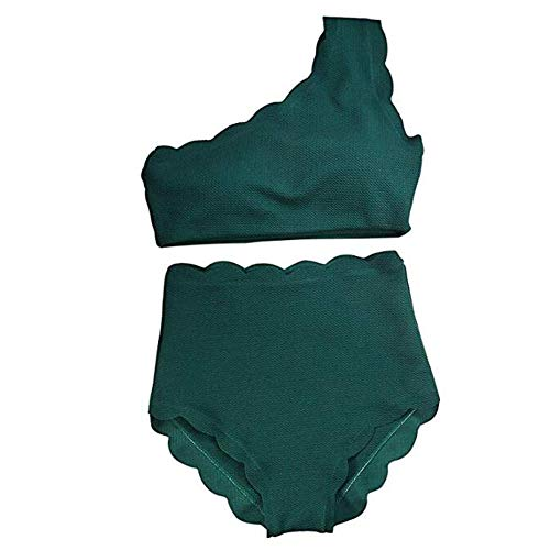 (Women's Vintage Scalloped Trim One Shoulder High Waisted Swimsuit Two Pieces Bikini Bathing Suit (Green, S))