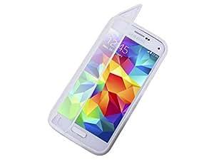 Fone-Stuff Samsung Galaxy S5 Mini caso - cubierta de la piel del gel de silicona de cuerpo completo con ver a través de protector de pantalla táctil tirón de la carpeta en blanco