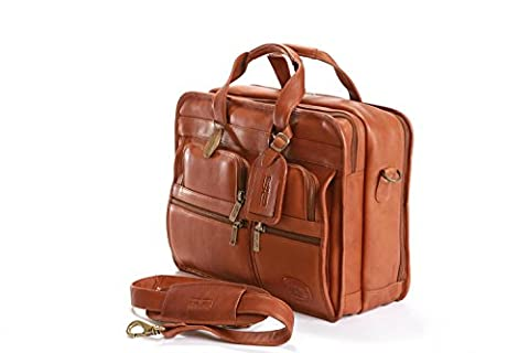 Claire Chase Executive Computer Leather Briefcase, Messenger Bag in Saddle - Claire Chase Leather Messenger