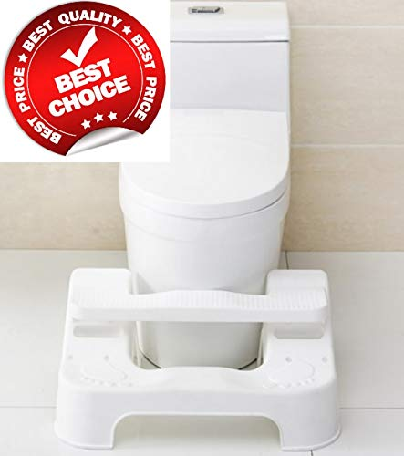 (Potty Slider | New Squatting Toilet Stool White | 3 Adjustable Modes and Levels | Fits All Toilets for Adults)