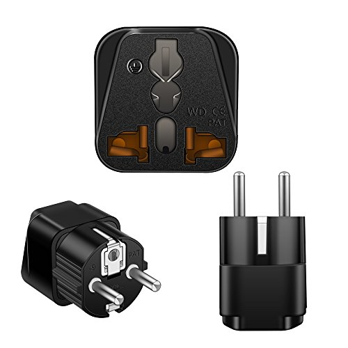 Price comparison product image SyncTed Plug Adapter Standard Type E/F x 3 Pack, Power Plug Adapter USA to France, Belgium, Slovakia, Tunisia Germany, Austria, the Netherlands and Spain among others