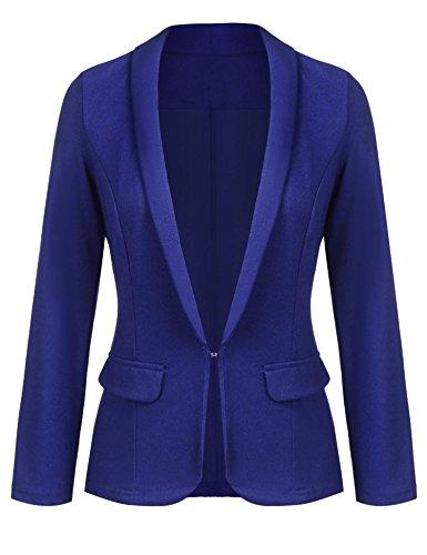 Button Lapel Pocket - Grabsa Women's Notched Lapel Pocket Button Work Office Blazer Jacket Suit Blue Large