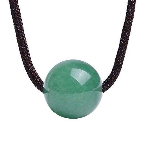 iSTONE Natural Green Jade Aventurine Round Shape Pendant Necklace Rope Chain 18 Inch