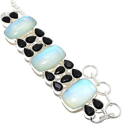 Black onyx and moonstone sterling link bracelet