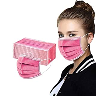 50 Pcs Disposable Cover Unisex Oral Protection 3-ply Filter Dustproof Cover, High Filtration and Ventilation Security, as shown (50pcs#Watermelon Red)