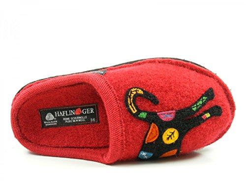 Haflinger Sassy - pantuflas de lana mujer Rot