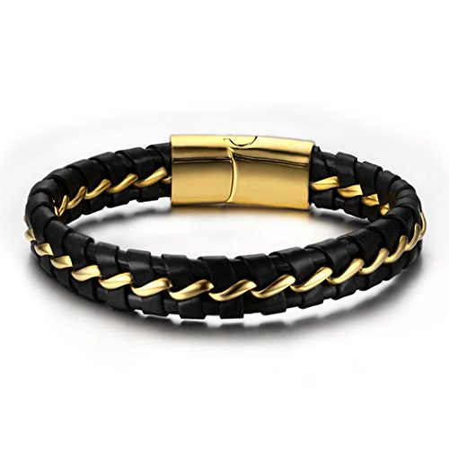 Time Pawnshop Personalize Golden Stainless Steel Black Braided Leather Wrist Bracelet for Men (15 Sony Subwoofer)