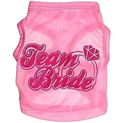 "Pet Dog Vest T-Shirt, Breathable Summer Spring Clothes Polyester Ultra-Thin Cute Vest for Pet Costume Apparel (L(BACK34CM/13.38"" BUST48CM/18.89"" NECK32CM/12.59""), Pink)"