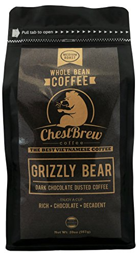 Chestbrew Whole Bean Coffee. Medium Roast Vietnamese Coffee – Grizzly Bear 20 Ounce Bag