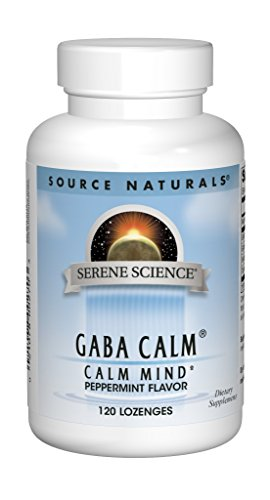 Source Naturals Serene Science GABA Calm 125mg - Natural Support Supplement for a Calm Focused Mind, Relaxed Mood and Anxiety Relief - Peppermint Flavor -120 Lozenges