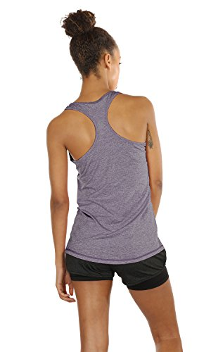 icyzone Workout Tank Tops for Women - Racerback Athletic Yoga Tops, Running Exercise Gym Shirts(Pack of 3)(L, Charcoal/Lavender/Peach)