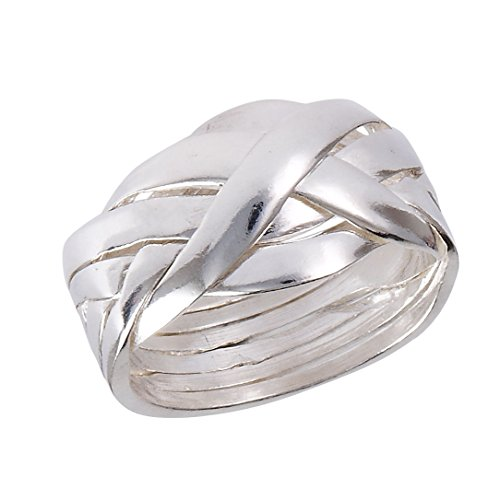 Large Sterling Silver 6-Band Weave Puzzle Ring Size 10