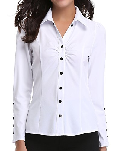 MISS MOLY Women's White Button Down Shirt V Neck Collar Puff Sleeve Office M by MISS MOLY (Image #1)'